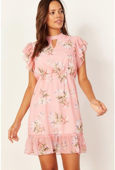 Lafaba Kadın Pembe Desenli Mini Şifon Elbise