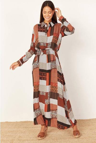 Lafaba Kadın Kahverengi Desenli Uzun Elbise