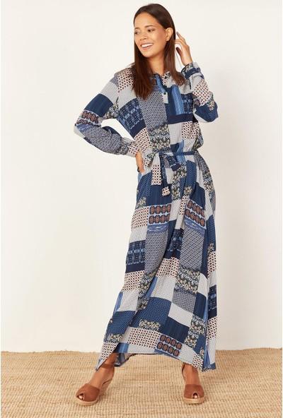 Lafaba Kadın Mavi Desenli Uzun Elbise