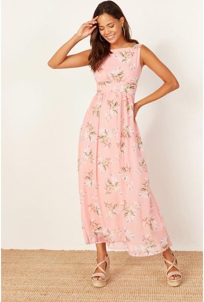Lafaba Kadın Pembe Desenli Uzun Şifon Elbise