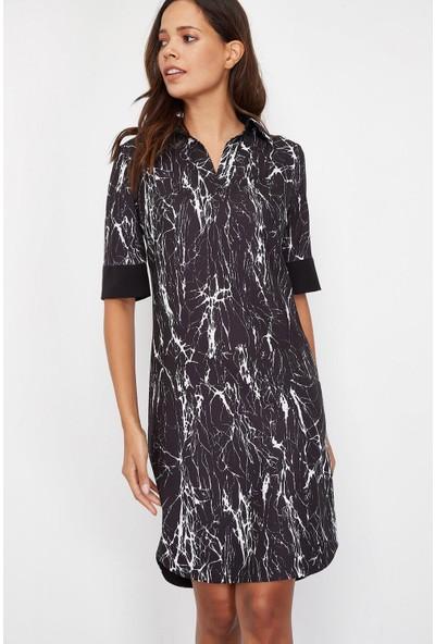 Lafaba Kadın Siyah Desenli Elbise