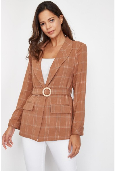 Lafaba Kadın Kahverengi Ekose Desenli Kemerli Ceket