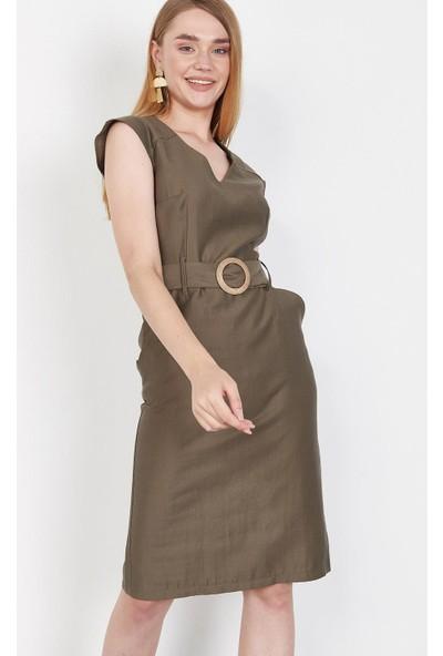 Lafaba Kadın Haki Kemerli Midi Boy Elbise