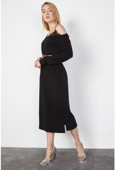 Lafaba Kadın Siyah Omuzu Dantelli Midi Boy Elbise