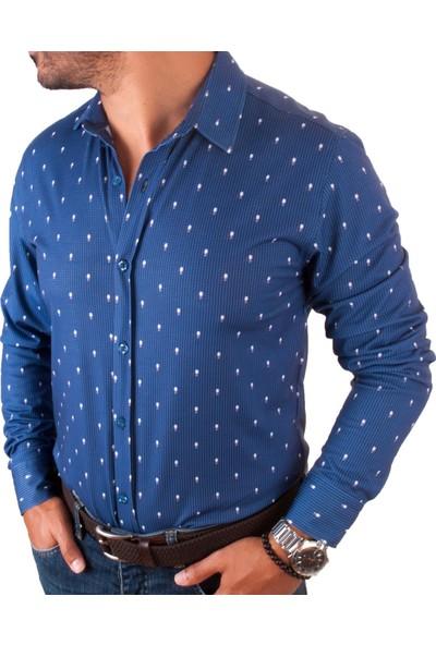Mario Puzo Mavi Üzerine Labut Desenli Erkek Gömlek