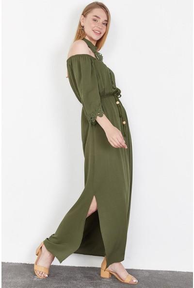 Lafaba Kadın Haki Boyundan Baplamalı Uzun Elbise