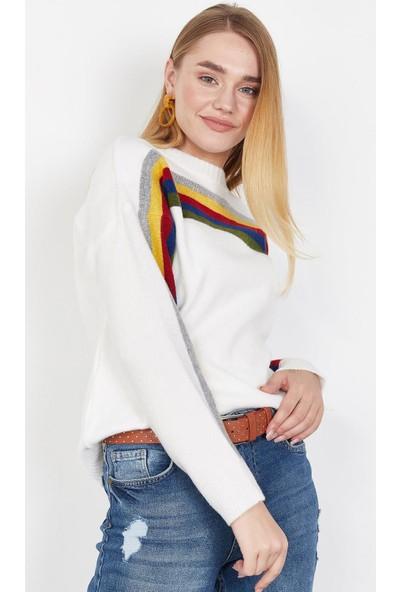Lafaba Kadın Beyaz Çizgili Triko Kazak