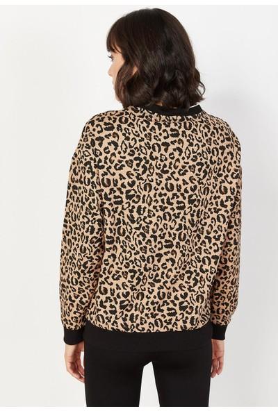 Lafaba Kadın Siyah Leopar Desenli Sweatshirt