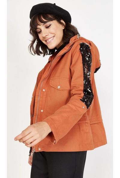 Lafaba Kadın Kiremit Kapüşonlu Payetli Ceket