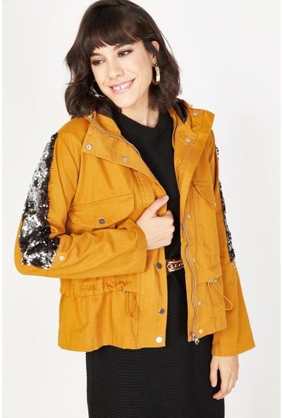 Lafaba Kadın Hardal Kapüşonlu Payetli Ceket