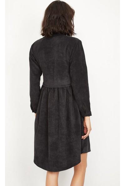 Lafaba Kadın Siyah Fitilli Kadife Kısa Elbise