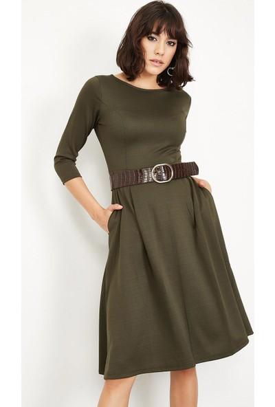 Lafaba Kadın Haki Pileli Midi Boy Elbise