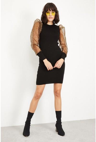 Lafaba Kadın Siyah Organze Ve Leopar Balon Kollu Triko Elbise