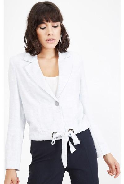 Lafaba Kadın Mavi Kuşgözü Detaylı Ceket