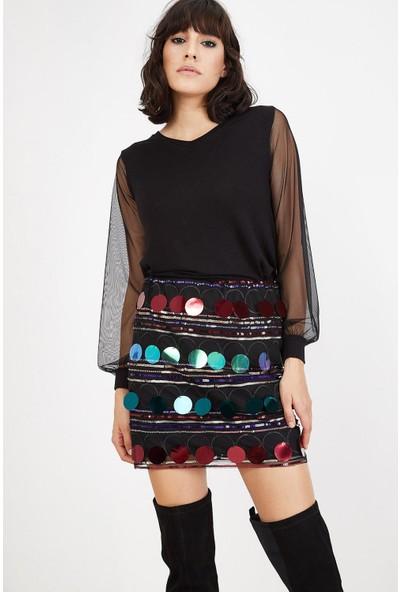 Lafaba Kadın Siyah Renkli Payetli Mini Etek