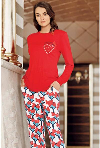 Kırmızı Kaktüs Detaylı Pijama Takımı