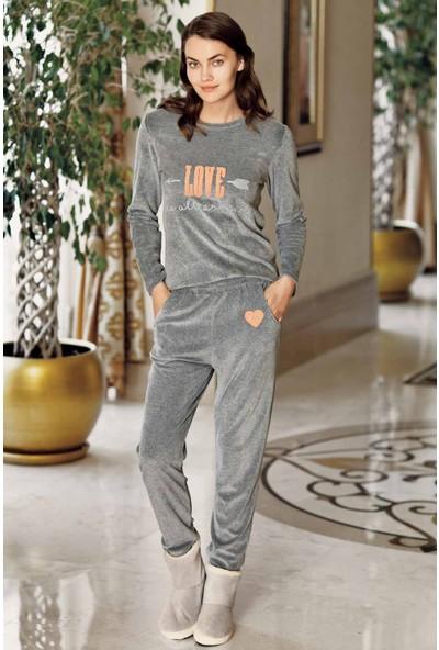 Antrasit Kadife Pijama Takımı