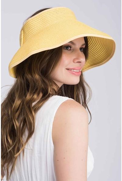 Haşema Fiyonk Detaylı Sarı Vizör Plaj Şapkası