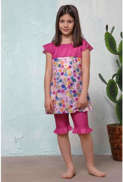 Haşema Pembe Çiçek Desenli Kız Çocuk Mayo