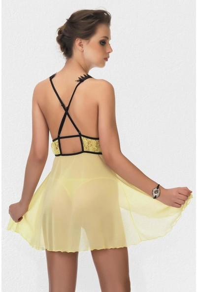 Mite Love Sarı Babydoll Dantelli Tül Gecelik Fantazi Giyim S