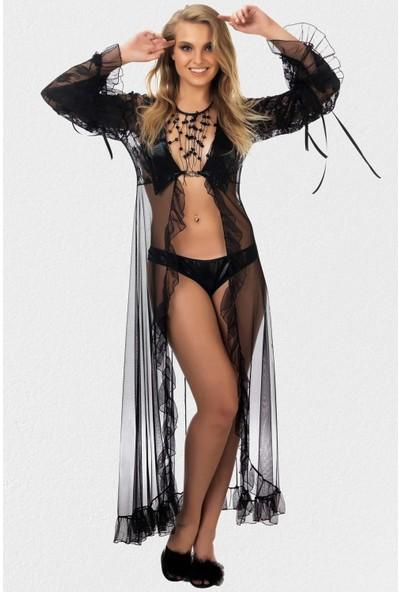 Mite Love Gecelik Siyah Deri Dantelli Transparan Giyim S