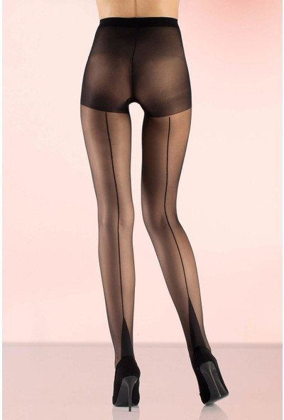 Mite Love Külotlu Çorap Siyah 15 Denye Arkası Çizgili XL
