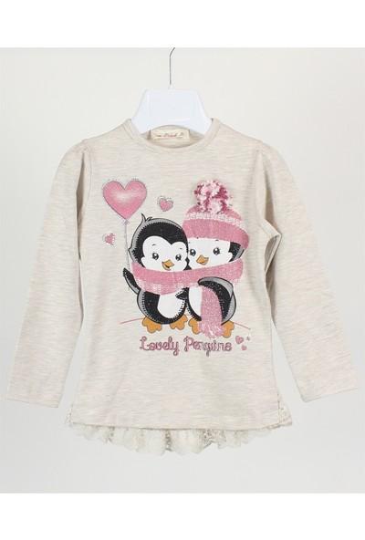 Minipomes 1 - 4 Yaş Kız Çocuk Penguen Baskılı Sweatshirt
