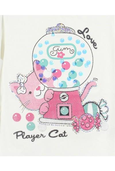 Minipomes 1 - 4 Yaş Kız Çocuk Sırt Modelli Kedi Baskılı Sweatshirt