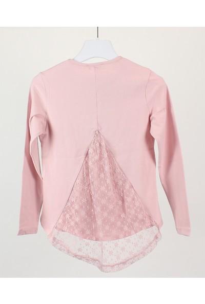 Minipomes 8 - 14 Yaş Kız Çocuk Sırtı Dantelli Baskılı Sweatshirt