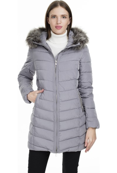Only Gri Kadın Montu 15183994-Sılver Fılıgree Onlellan Quilted Hood Fur Coat Otw