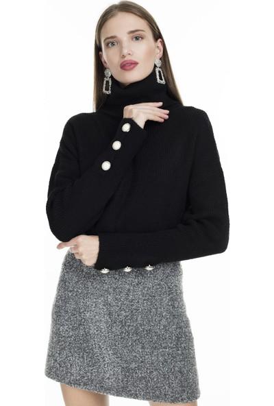 Lela Kolları Düğme Detaylı Kazak Kadın Kazak 54511065K