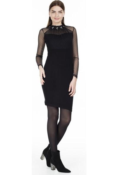 Lela Taş Detaylı Kolları Tül Elbise Kadın Elbise 5452060