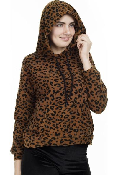 Lela Leopar Desenli Kapüşonlu Sweat Kadın Bluz 5553658