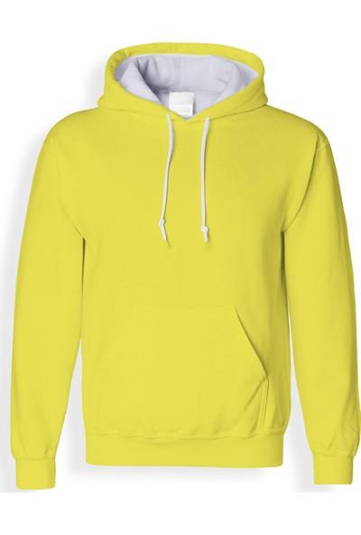 Acr Sarı Kapüşonlu Cepli Sweatshirt