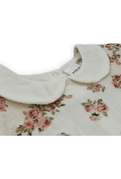 Aydodo Müslin Bebe Yakalı Çiçek Desenli Kız Bebek Elbise