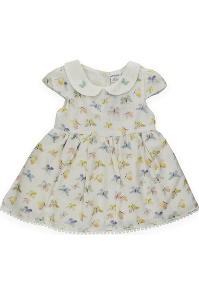 Aydodo Bebe Yakalı Müslin Kız Bebek Elbise Şort Takım