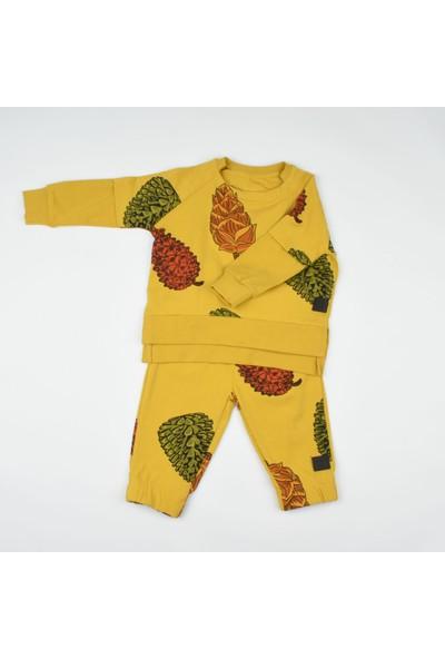 Moi Noi Hardal Renk Kozalak Desenli Erkek Bebek Takımı