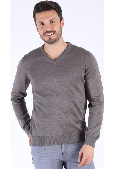 Twister Jeans Et 3622 V Yaka Kahve Melanj Triko