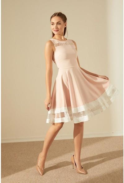 Trendmay Göğüs Ve Etek Tül Detay Elbise-Pudra M