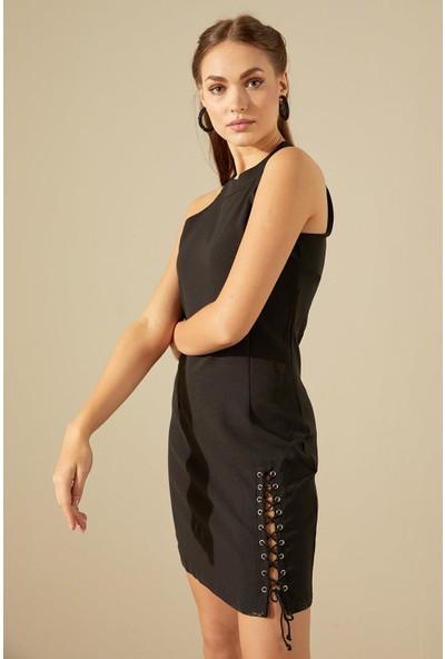 Trendmay Kuş Gözü Detay Elbise-Siyah L