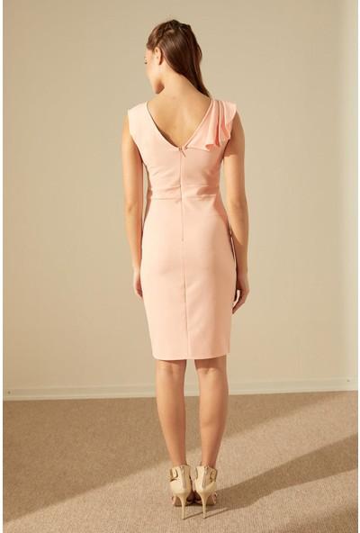 Trendmay Omuz Dökümlü Düğmeli Elbise-Yavruağzı L