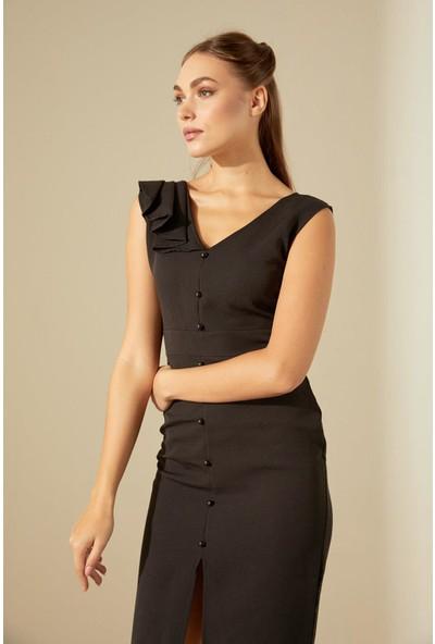 Trendmay Omuz Dökümlü Düğmeli Elbise-Siyah L