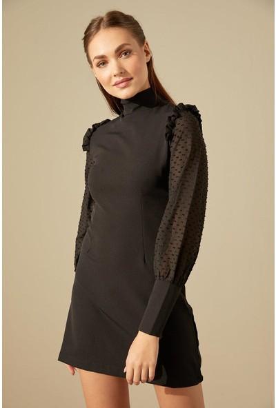 Trendmay Kol Tül Detay Kalem Elbise Siyah L