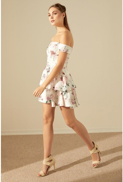Trendmay Fırfır Etek Gül Desen Elbise-Beyaz S