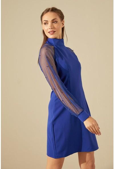 Trendmay Kolu İncili Elbise-Saks Mavi L