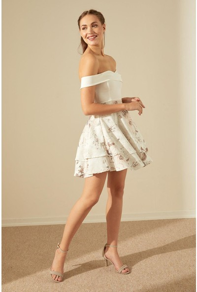 Trendmay Kayık Yaka Çiçek Desen Elbise-Krem L