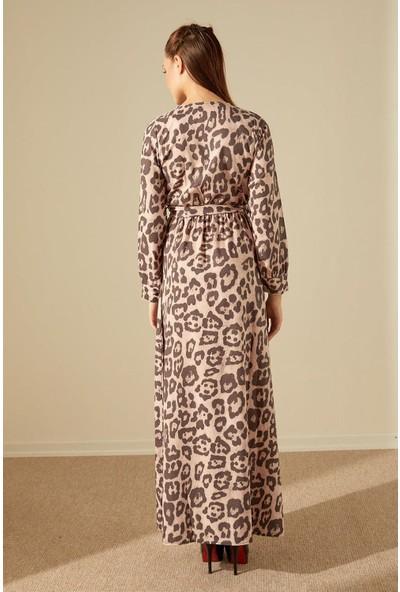 Trendmay Kuşaklı Maxi Elbise-Leopar L