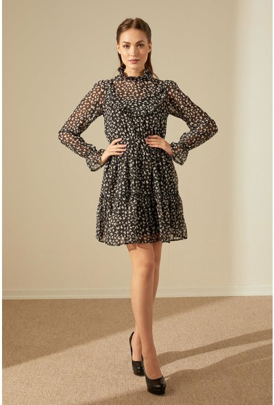 Trendmay Kelebek Desen Şifon Elbise Siyah M