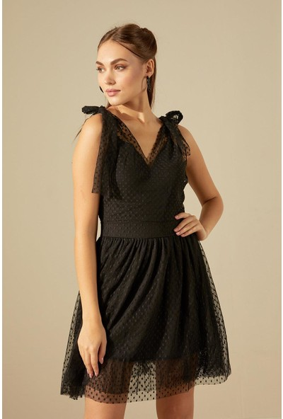 Trendmay Omuz Bağlamalı Astarlı Tül Elbise-Siyah L