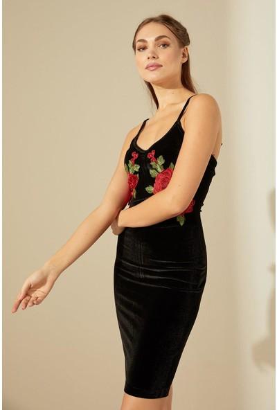 Trendmay Kadife Gül Detay Elbise-Siyah L